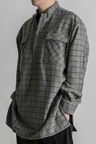 Wool Blend Half Zip Flannel Shirts  Grey