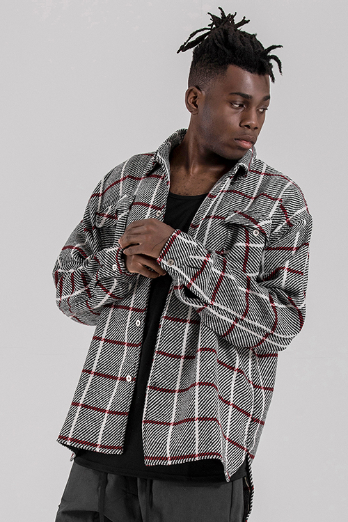 Wool Blend Flannel Shirts Crimson White