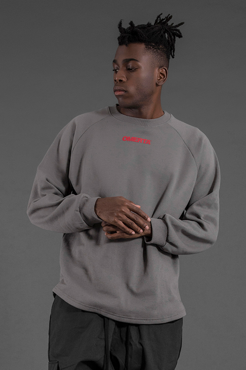 2018'BADASS'Oversized CrewneckWolf Grey