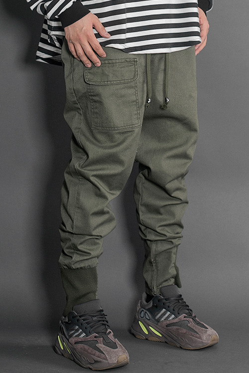 2019Half Band Jogger Pants Military Green