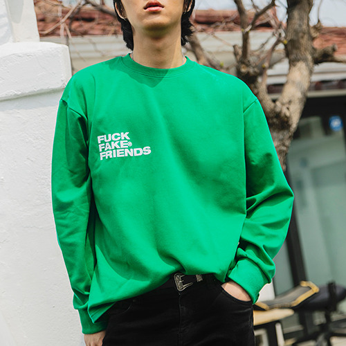 2020SS 'FUCK FAKE FRIENDS'  LOGO TEE Green