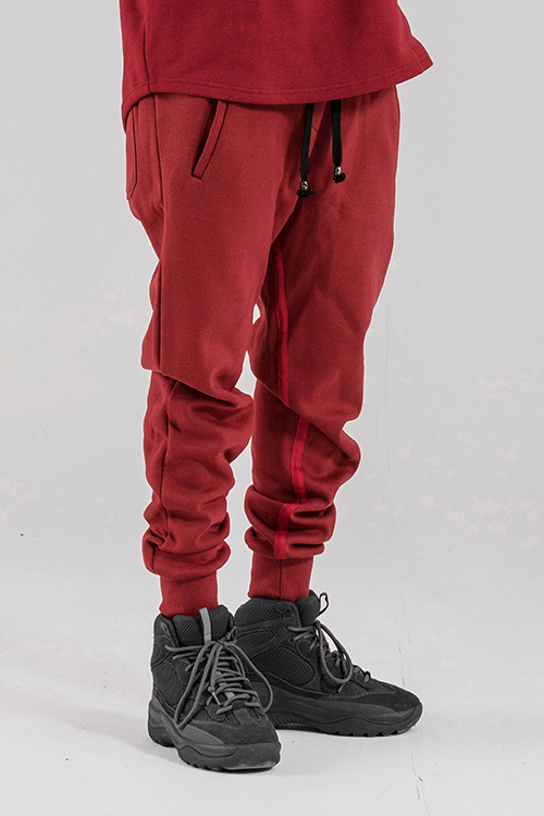 Basic Tape Detail Sweat Pants  Crimson