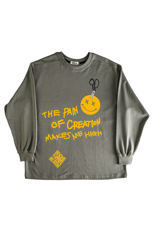 2019FW'The Pain'Over Fit CrewneckWolf Grey