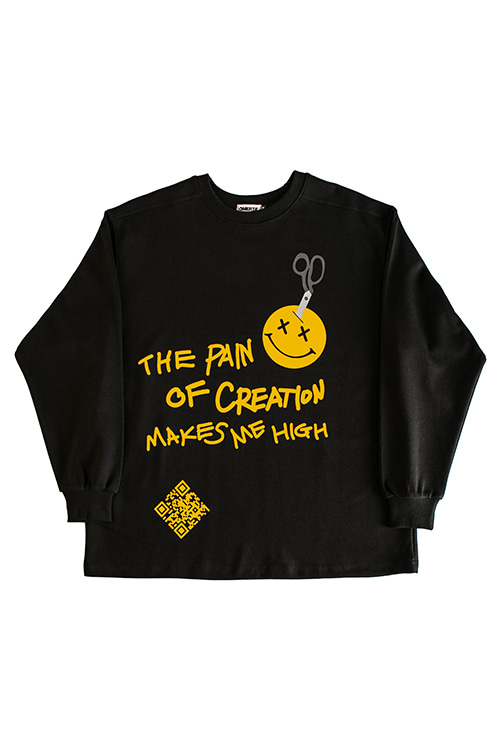 2019FW'The Pain'Over Fit CrewneckBlack
