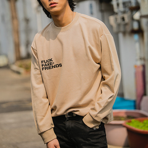 2020SS 'FUCK FAKE FRIENDS'  LOGO TEE Beige